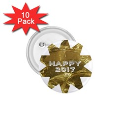 Happy New Year 2017 Gold White Star 1.75  Buttons (10 pack)