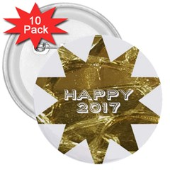 Happy New Year 2017 Gold White Star 3  Buttons (10 pack)