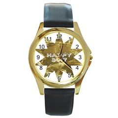 Happy New Year 2017 Gold White Star Round Gold Metal Watch