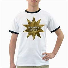 Happy New Year 2017 Gold White Star Ringer T-Shirts