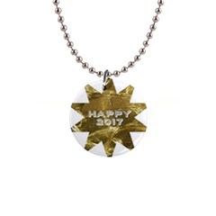 Happy New Year 2017 Gold White Star Button Necklaces