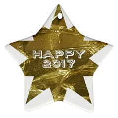 Happy New Year 2017 Gold White Star Star Ornament (Two Sides)