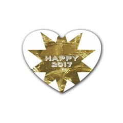Happy New Year 2017 Gold White Star Rubber Coaster (Heart)