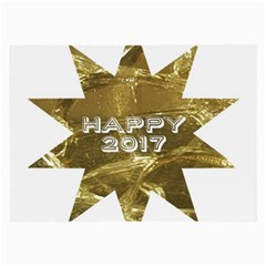 Happy New Year 2017 Gold White Star Large Glasses Cloth (2-Side)
