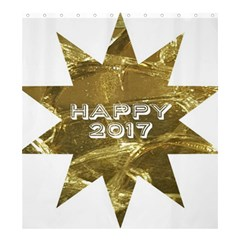 Happy New Year 2017 Gold White Star Shower Curtain 66  x 72  (Large)