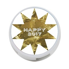 Happy New Year 2017 Gold White Star 4-Port USB Hub (Two Sides)