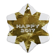 Happy New Year 2017 Gold White Star Ornament (Snowflake)