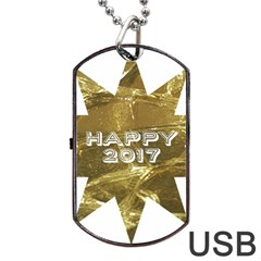 Happy New Year 2017 Gold White Star Dog Tag USB Flash (Two Sides)