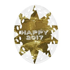 Happy New Year 2017 Gold White Star Ornament (oval Filigree)