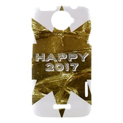 Happy New Year 2017 Gold White Star HTC One X Hardshell Case
