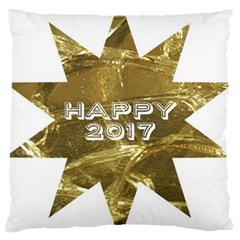 Happy New Year 2017 Gold White Star Large Cushion Case (One Side)