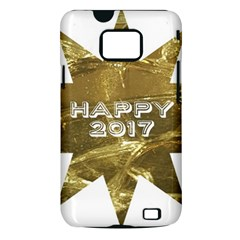 Happy New Year 2017 Gold White Star Samsung Galaxy S II i9100 Hardshell Case (PC+Silicone)