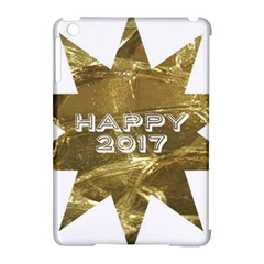 Happy New Year 2017 Gold White Star Apple iPad Mini Hardshell Case (Compatible with Smart Cover)