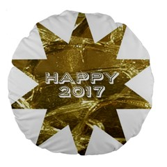 Happy New Year 2017 Gold White Star Large 18  Premium Round Cushions