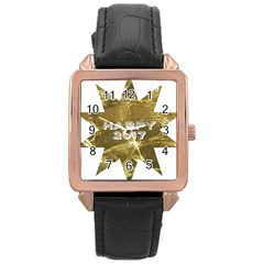 Happy New Year 2017 Gold White Star Rose Gold Leather Watch