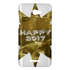 Happy New Year 2017 Gold White Star HTC Butterfly X920E Hardshell Case