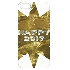 Happy New Year 2017 Gold White Star Apple iPhone 5 Hardshell Case with Stand