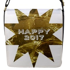 Happy New Year 2017 Gold White Star Flap Messenger Bag (S)