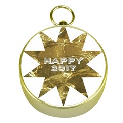 Happy New Year 2017 Gold White Star Gold Compasses