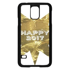 Happy New Year 2017 Gold White Star Samsung Galaxy S5 Case (Black)