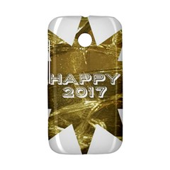 Happy New Year 2017 Gold White Star Motorola Moto E