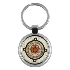 Ancient Aztec Sun Calendar 1790 Vintage Drawing Key Chains (Round)
