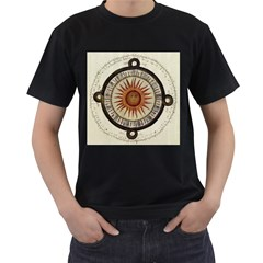 Ancient Aztec Sun Calendar 1790 Vintage Drawing Men s T-Shirt (Black) (Two Sided)