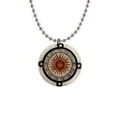 Ancient Aztec Sun Calendar 1790 Vintage Drawing Button Necklaces