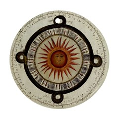 Ancient Aztec Sun Calendar 1790 Vintage Drawing Round Ornament (Two Sides)