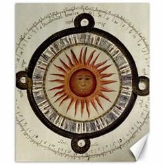 Ancient Aztec Sun Calendar 1790 Vintage Drawing Canvas 8  x 10