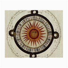 Ancient Aztec Sun Calendar 1790 Vintage Drawing Small Glasses Cloth (2-Side)