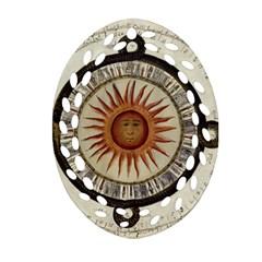 Ancient Aztec Sun Calendar 1790 Vintage Drawing Oval Filigree Ornament (2-Side)