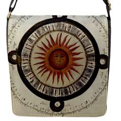 Ancient Aztec Sun Calendar 1790 Vintage Drawing Flap Messenger Bag (S)