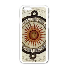 Ancient Aztec Sun Calendar 1790 Vintage Drawing Apple iPhone 6/6S White Enamel Case