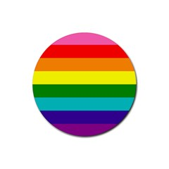 Colorful Stripes Lgbt Rainbow Flag Rubber Coaster (Round)