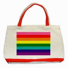 Colorful Stripes Lgbt Rainbow Flag Classic Tote Bag (Red)