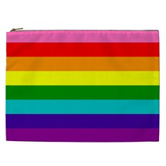 Colorful Stripes Lgbt Rainbow Flag Cosmetic Bag (XXL)