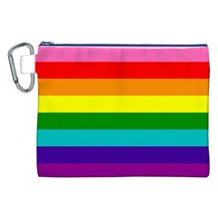 Colorful Stripes Lgbt Rainbow Flag Canvas Cosmetic Bag (XXL)