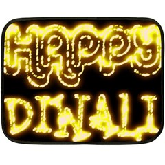 Happy Diwali Yellow Black Typography Double Sided Fleece Blanket (Mini)