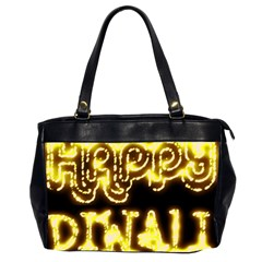 Happy Diwali Yellow Black Typography Office Handbags (2 Sides)