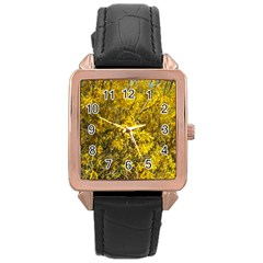 Nature, Yellow Orange Tree Photography Rose Gold Leather Watch