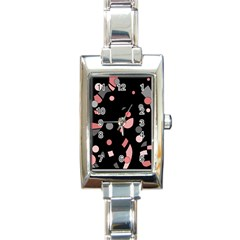 Pink and gray abstraction Rectangle Italian Charm Watch