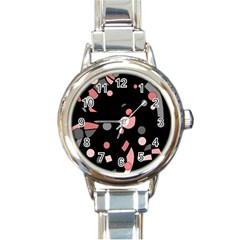 Pink and gray abstraction Round Italian Charm Watch