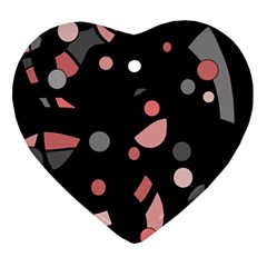 Pink and gray abstraction Ornament (Heart)