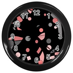 Pink and gray abstraction Wall Clocks (Black)