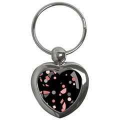 Pink and gray abstraction Key Chains (Heart)