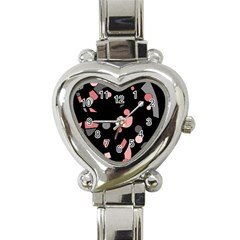 Pink and gray abstraction Heart Italian Charm Watch