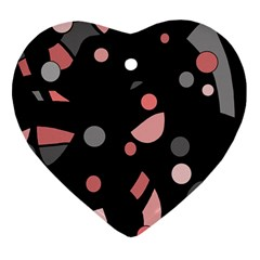 Pink and gray abstraction Heart Ornament (2 Sides)