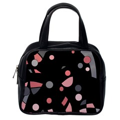 Pink and gray abstraction Classic Handbags (One Side)