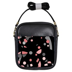 Pink and gray abstraction Girls Sling Bags